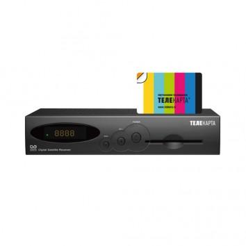 Комплект спутникого ТВ Телекарта с ресивером EVO 01 и картой доступа на 12 мес.