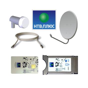 Комплект спутникового телевидения НТВ+ с модулем и картой 1200 + антенна + конвертер