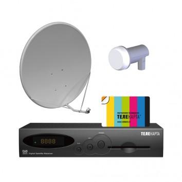 Комплект спутникого ТВ Телекарта с ресивером EVO 01, антенной 0,6 и картой доступа на 12 мес.