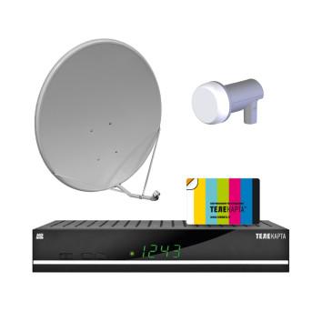 Комплект спутникого ТВ Телекарта с ресивером Globo HD x8, антенной 0,6 и картой доступа на 12 мес.